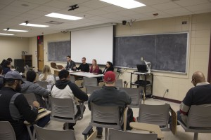Graduate student panel taking questions regarding graduate school