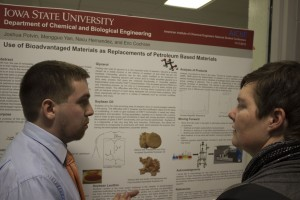 ChE Senior Josh Potvin presenting his research poster to Dr. Lamm
