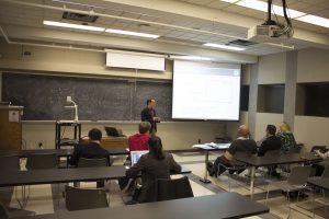 ChE Senior David Gardner giving a technical talk on his research